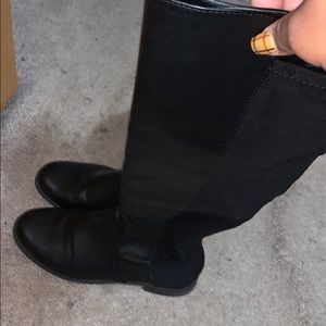 Black Knee Boots w/Leather and Elastic
